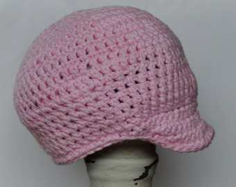 6-12 Month Crocheted Pink Brimmed Hat