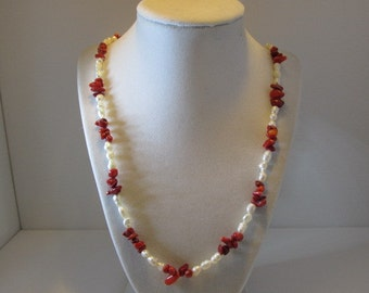 Free Shipping, One of a kind, hand beaded, necklace, fresh water pearls, red bamboo coral, type FREESHIPPINGOVER100 at checkout