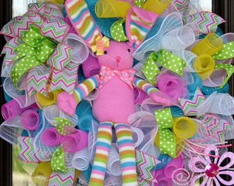 Easter Wreath, Pink Easter Bunny, Polka dots, Baby girl, spring decomesh wreath, for front door, Spring decoration, Easter decoration