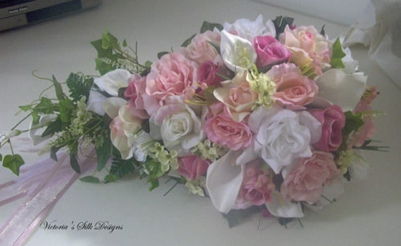 silk Cascade pink and white  bridal bouquet. 2pc