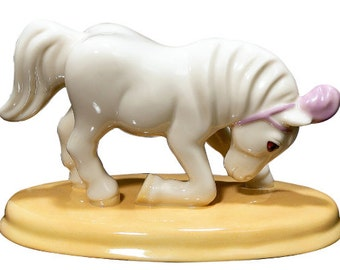"""Bowing White Porcelain Pony Figurine titled """"Star"""""""