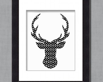 Deer Silhouette - Geometric Pattern