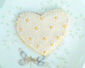 Heart Sugar Cookies with flower dot design