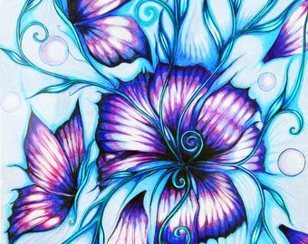 Blooming Butterflies,]. Fine art print in 230mm x 420mm  A3 Size.