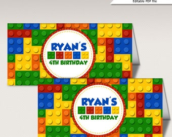 Instant Download - Editable Colorful Blocks Birthday Party Bag Topper
