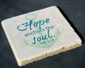 Stone Coaster With Nautical Design With Scripture, Anchor-Gift