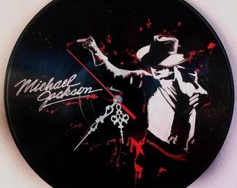 Michael Jackson,hand painted vinyl record clock