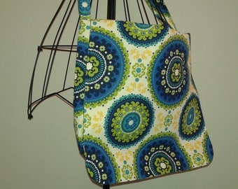 Blue Yellow Green Fabric Messenger Bag