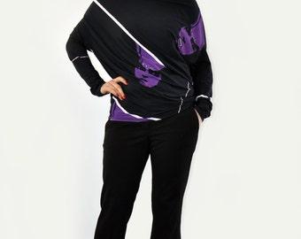 Black top oversized Top/Asymmetrical loose top/Drape blouse/Handmade black top tunic/Party blouse/Woman casual top tunic/Lycra bloyse/T1425