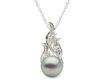 Natural Color Blue Akoya Pearl and Diamond Aurora Pendant, 9.0-9.5mm, Sterling Silver