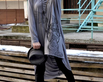 New Collection - Grey Loose Tunic Long Sleeves / Maxi Grey Oversize Tunic  by EUGfashion
