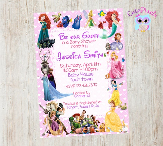Baby Shower Invitation For Girl Disney Baby Shower By CutePixels