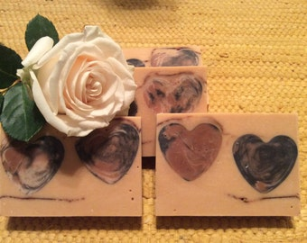 DOUBLE HEARTS SOAP...In love with buttermilk's creamy goodness, with added honey, sweet almond oil, and pink kaolin clay...limited edition