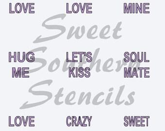 Conversation Heart Sayings Stencil 1