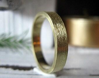 Size 10 Brushed Gold Ring 18K Green Gold Mens Wedding Band Mens Wedding Ring Rustic Unique Mens Wedding Bands Gold Ring Mens Ring Viking