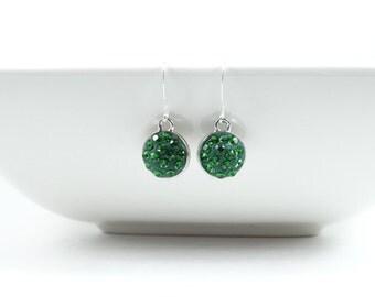 Swarovski Green Dangly Earrings • Swarovski Green and Silver Earrings • Green Sparkly Earrings • Green Holiday Earrings