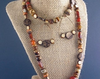 """34"""" Opera length earthen dyed brown spotted agate necklace and earring set"""