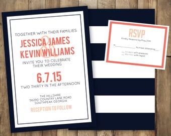 Stripe Wedding Invitation, Navy Wedding Invitation, Coral Wedding Invitation, Coral and Navy Wedding Invitation, Modern Wedding Invitation