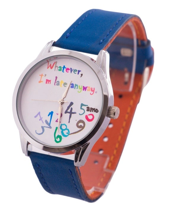Cobalt Blue Women's Leather Wrist Watch, Leather Statement Watch, Graduation Gift Ideas