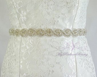 Bridal Rhinestone Sash, Bridal Sash, Couture Brides Belt, Ribbon Sash, Beaded Crystal Sash, Wedding Sash, Prom Sash, Diamond Belt SB0014