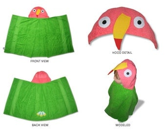 parrot hooded towel