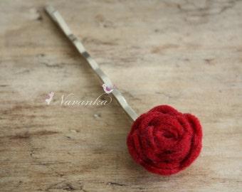One Red felt rosette bobby pin, mini rose bobby pin, Girl, Toddler, Teen girls,Women, Easter, Wedding, Birthday Gift