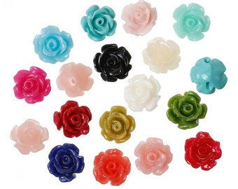 50PCs (Grade B) Synthetic Coral Spacer Beads Rose Flower About 9mm x 8mm,Hole:Approx 1.3mm