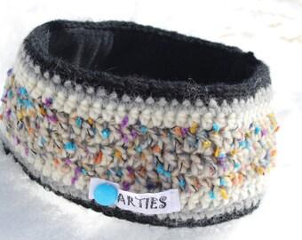 SALE! Wintersport Stirnband, Ohrenwärmer aus 70% Wolle. Winddicht durch Futter aus Polarfleece.  Earwarmer, crocheted. Bandeau du laine