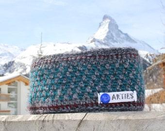 SALE! Ski, Snowboard, Stirnband, Ohrenwärmer gutes haltbares Material. Winddicht durch Polarfleece.  Earwarmer, crocheted. Bandeau du laine