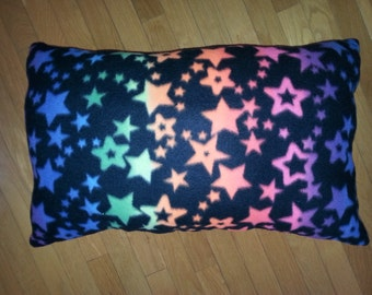 Fleece Pillow with Colorful Stars to Lounge Around With  14x25