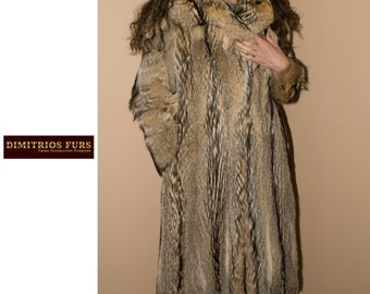 Gray Fox Fur Coat - Vintage Size 4/6