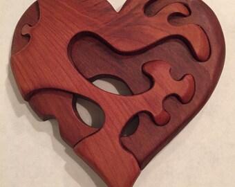 Carved cedar heart magnet