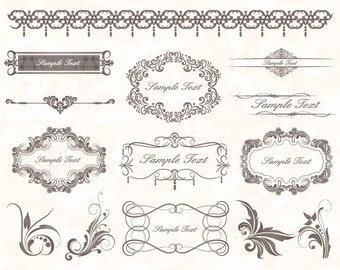 Instant Download Grey Frame Border ClipArt Flourish Swirl Digital Frame Ornate ClipArt Grey Vintage Frame Decor Scrapbook Embellishment 0037