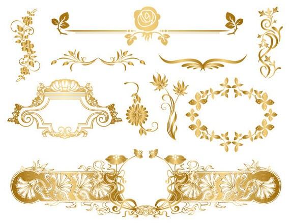 GOLD Digital Frame Clip Art Flourish Swirls Floral Frame