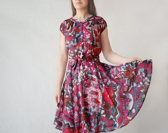 floral a line dress, silk, cotton, swing dress,  circle skirt, summer dress,  pleated front, full circle, 50's