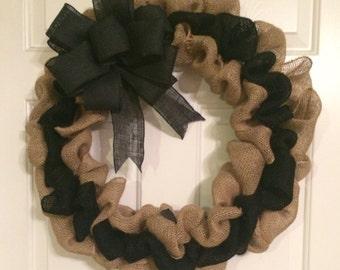 Two toned burlap wreath