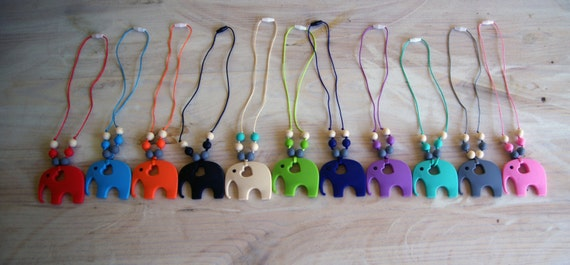 SALE!!! BPA Free Silicone ELEPHANT teething necklaces!! Make a Statement!!