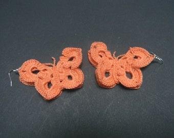 Crochet earrings in the shape of butterfly