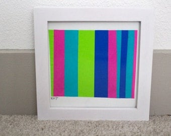 Framed mixed media striped collage