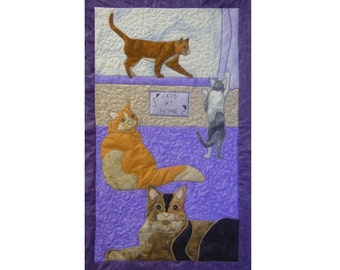 Cats is a quilted applique pattern for a wall hanging
