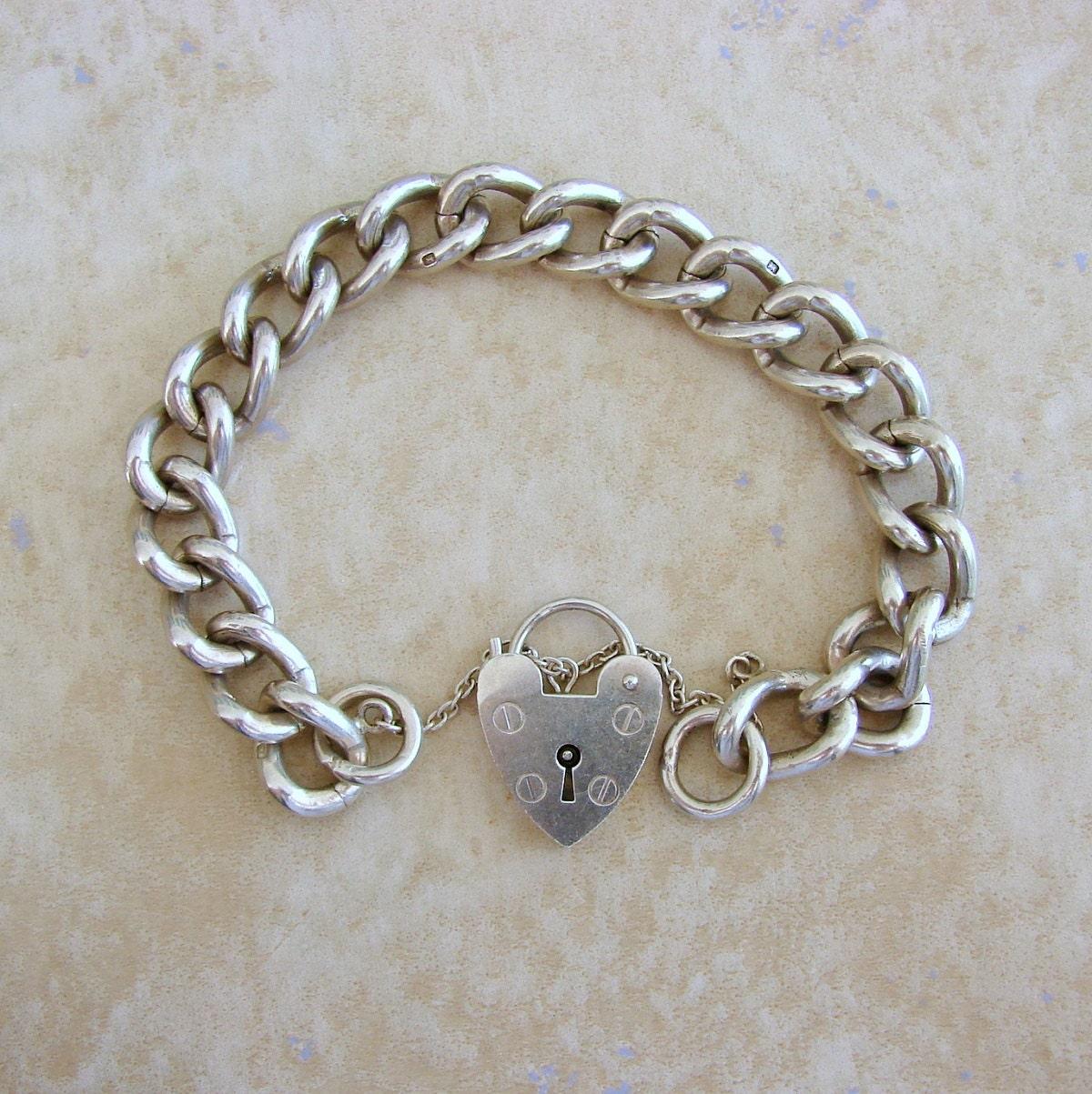 Starter Charm Bracelet: Large Single Link Starter Charm Vintage Silver Bracelet Heart