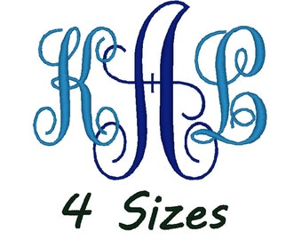 Monogram font for embroidery machiine. (4 sizes)