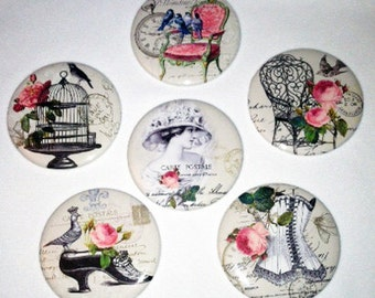 Set of 6  French Inspired Pocket Mirrors, Bridesmaid gift, Wedding favor, Shower gift, Compact Mirror, Small gift
