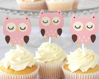 12 x Owl Cupcake toppers - Pink Owls, Girls Birthday Party
