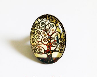 Oval Ring * tree of life, klimt * art painting beige Brown spiral tree, cabochon glass