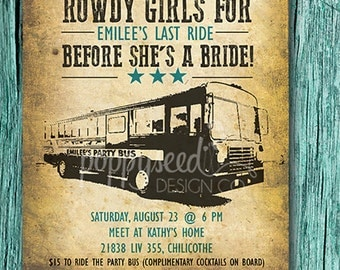 """Digital file Bachelorette Bus Ride Inviation """"Last Ride Before She's A Bride"""""""