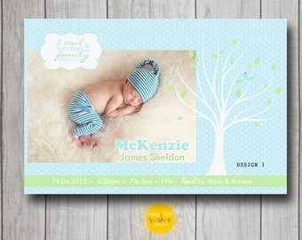 Personalised Boy Announcement Photo Printable Tree Branches Blue polka Dot Background