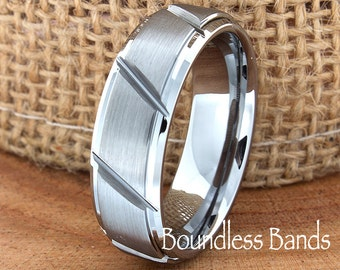 Tungsten Band 7mm Stepped Edges Slanted Custom Laser Engraved Tungsten Anniversary Ring Couple Wedding Bands Ring For Him Mens Wedding Ring