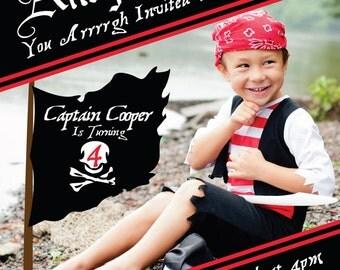 Pirate Birthday Party Photo Invitation. Digital File
