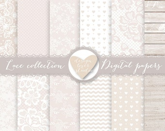 Premium Lace digital papers, Beige wedding digital, wood, rustic, shabby chic, heart digital papers, Premium Digital Lace